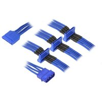 BitFenix Alchemy Molex to 4x SATA Adapter 20 cm sleeved blue/blue