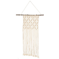 Long Cream Macrame Wall Hanging