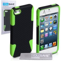 YouSave Accessories iPhone 3 Hard Hybrid Case - Green/Black