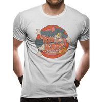Tom And Jerry - Retro Logo Men's Large T-shirt - Grey