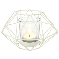Cream Geometric Wire Candle Holder
