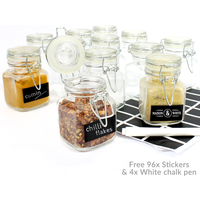 Mini Clip Top Glass Jars |Herbs Spices Jams | FREE Labels & Chalk Pen | M&W 48