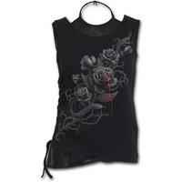 Fatal Attraction Women's Medium 2 In 1 Pu Leather Vest Top - Black