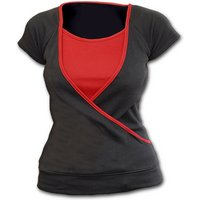 Urban Fashion Red Neck Women's Small Short Sleeve Top - Black