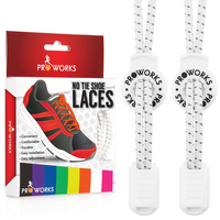 Proworks No Tie Reflective Shoe Laces - White