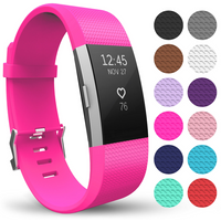 'Yousave Fitbit Charge 2 Strap Single (small) - Hot Pink