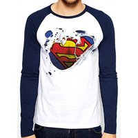 Superman - Torn Logo Men's X-Large Baseball Shirt - White