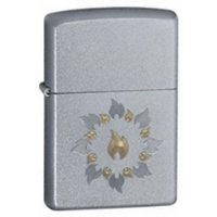 Zippo Ring Of Fire Satin Chrome Windproof Lighter