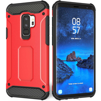 Samsung Galaxy S9 Plus Armoured Shockproof Carbon Case - Red