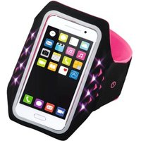 Hama Running Sports Arm Band for Smartphone, Size XL, with LED, pink