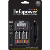 INFAPOWER 1-Hour Charger + AA 2700MAH NI-MH Rechargeable Batteries (4-Pack) C006