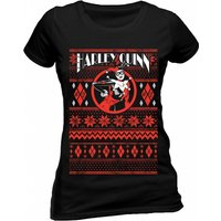 Harley Quinn - Fair Isle Women's Large Fitted T-Shirt - Black