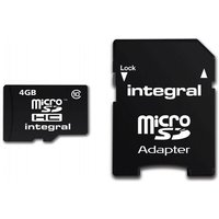 Integral Micro SD Card 4GB with SD Adapter Class 10
