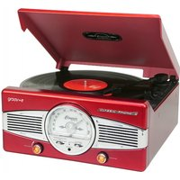 Groov-e Classic Vinyl Record Player with FM Radio & Built-in Speakers Red