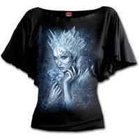 Ice Queen Boat Neck Bat Sleeve Women's Small Short Sleeve Top - Black