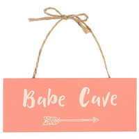 Babe Cave Hanging Wooden Sign