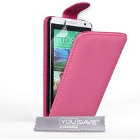 YouSave HTC Desire 610 Leather Effect Flip Case - Hot Pink
