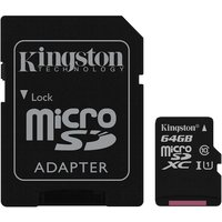 Kingston 64GB Canvas Select Micro SDXC Card with SD Adapter, Class 10