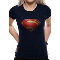 Superman Man Of Steel - Textured Logo Fitted Blue T-Shirt X-Large