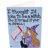 Pack of 6 I Thought I'D Like To Be A Witch Smiley Cards