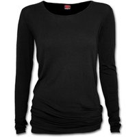 Gothic Elegance Baggy Women's Small Long Sleeve Top - Black