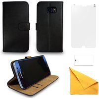 Samsung Galaxy S7 Edge Black Leather Phone Case + Free Screen Protector Flip Wallet Gadgitech