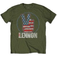 John Lennon - Peace Fingers US Flag Men's X-Large T-Shirt - Military Green