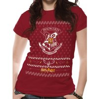 Harry Potter - Xmas Crest Unisex Small T-Shirt - Red