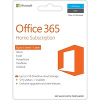 Microsoft Office 365 Home, Licence Card, 5 Users, 1 year subscription (PC/Mac)