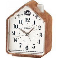 Seiko QHP005A Bedside Beep Alarm or 2 Bird Songs Clock Wood Pattern