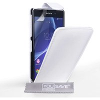 Yousave Sony Xperia Z2 Leather-Effect Flip Case - White