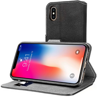 Apple iPhone X Slim PU Leather Stand Wallet Case - Black