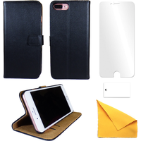 iPhone Black Leather Phone Case + Free Screen Protector Flip Wallet Gadgitech iPhone 7 Plus New