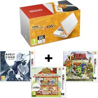 Nintendo 2DS XL Handheld Console White and Orange + 3 Games