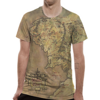Lord Of The Rings - Middle Earth Map Men's XX-Large T-Shirt - Green