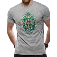 Aquaman Movie - Crest Unisex Small T-shirt - Grey