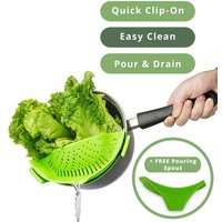Silicone Clip on Pan Sieve & Strainer | FREE Clip On Pour Spout | M&W