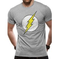The Flash - Distressed Logo Men's Small T-Shirt - Grey