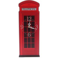 Red Telephone Box Shaped Wall Clock