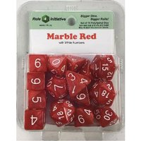 Marble Red Poly 15 Set Dice