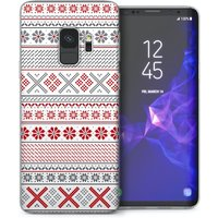 CASEFLEX SAMSUNG GALAXY S9 FAIR ISLE CROSS STITCH - GREY/RED CASE / COVER (3D)