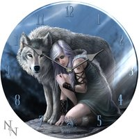 Wolf Protector Glass Clock