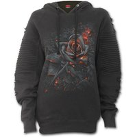 Burnt Rose Women's X-Large Premuim Biker Fashion Hoodie - Black