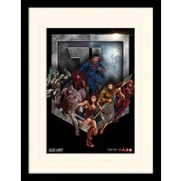 Justice League Movie - Heroes Shield Mounted & Framed 30 x 40cm Print