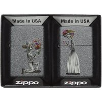 Zippo Day of The Dead Skulls Iron Stone Regular Lighter Set