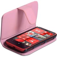 YouSave Accessories Nokia Lumia 620 Leather-Effect Wallet Case - Baby Pink