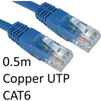 RJ45 (M) to RJ45 (M) CAT6 0.5m Blue OEM Moulded Boot Copper UTP Network Cable