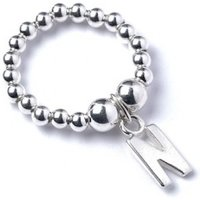 Initial N Charm With Sterling Silver Ball Bead Ring