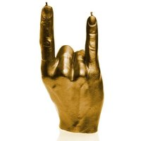 Gold Devil Horns Hand RCK Rock Gesture Candle