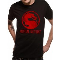 Mortal Kombat - Distressed Logo Unisex Small T-Shirt - Black